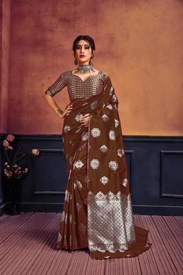 Brown printed banarasi silk saree with blouse
