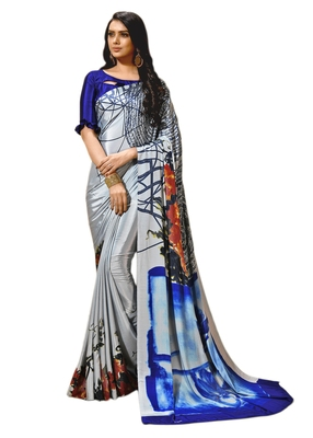 Sea green printed crepe saree with blouse