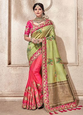 Light olive embroidered silk saree with blouse