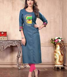 Blue embroidered cotton silk party-wear-kurtis