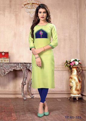 Light-green embroidered cotton silk party-wear-kurtis