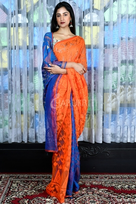 ORANGE AND BLUE JAMDANI WITH ALL OVER THREAD WEAVE