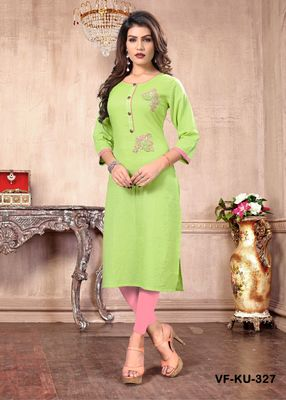 Light-green hand woven cotton party-wear-kurtis