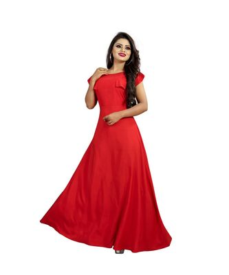 Red American Crepe Ankle Length Gown