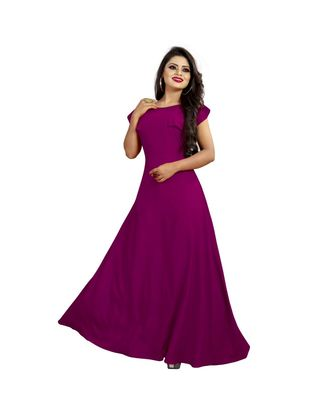 Wine American Crepe Ankle Length Gown