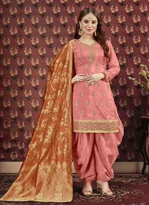 Salmon embroidered uppada silk salwar