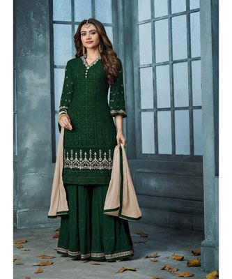 Green Embroidered Faux Georgette Semi Stiched Salwar With Dupatta