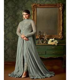 Grey Embroidered Satin Georgette Semi Stiched Net Salwar With Dupatta