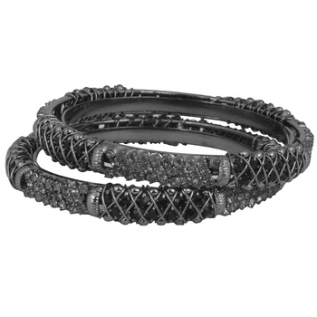 Alluring   Silver Oxisidied  Brass Bangles  For Woman & Girls