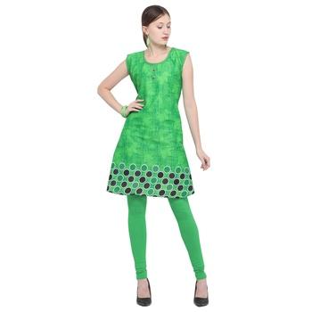 Green printed rayon party wear kurtis