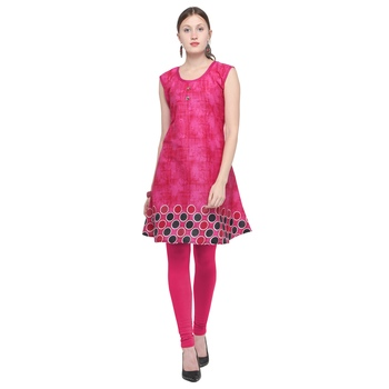 Pink printed rayon party wear kurtis