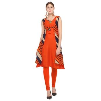 Orange printed rayon party wear kurtis
