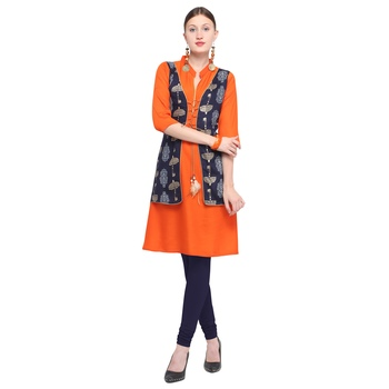 Orange printed rayon party wear kurtis