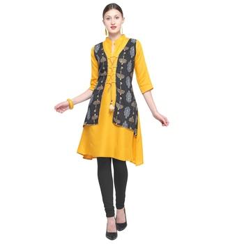 Yellow printed rayon party wear kurtis