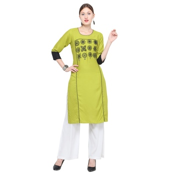 Green embroidered rayon party wear kurtis