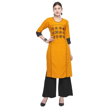 Mustard embroidered rayon party wear kurtis