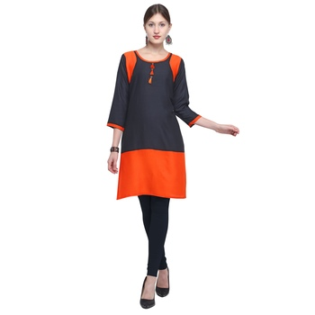Black plain rayon party wear kurtis
