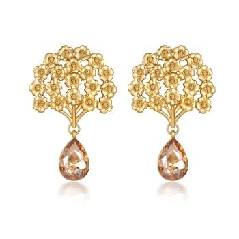 Beige crystal earrings