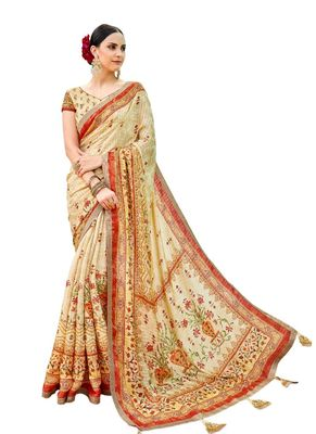 Cream printed banarasi silk saree with blouse