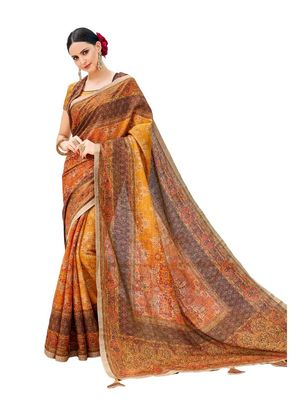Light brown printed banarasi silk saree with blouse