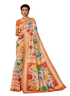 Light orange printed tussar silk saree with blouse