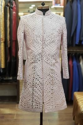 Pink embroidered raw silk sherwani