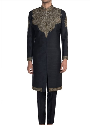 Black embroidered raw silk sherwani