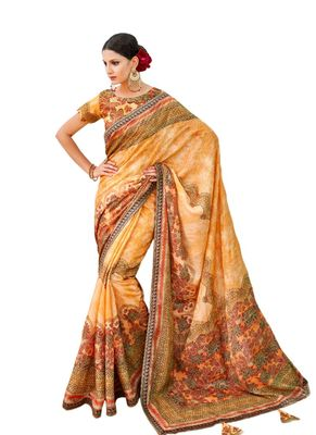 Orange printed banarasi silk saree with blouse