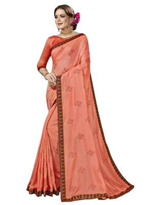 Peach embroidered georgette saree with blouse
