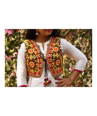 Yellow Base With Colorful Flower Kutch Embroidered Koti With Pompom Tassels