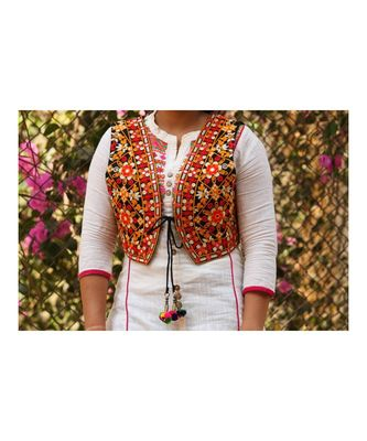 Orange Base With Colorful Flower Kutch Embroidered Koti With Pompom Tassels