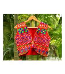 Red Base Rangoli Pattern Both Side Worked Kutch Embroidered Cotton Koti