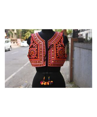 Orange And Pink Coloured Foil Mirror Work Kutch Embroidered Jacket With Pompom Tassel