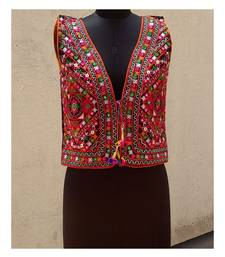 Front Kutch Embroidered Foil Mirror Worked Long Koti With Pompom Tassels