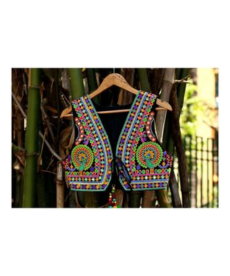Multicolored Kutch Embroidered Peacock Pattern Foil Mirror Short Sleeveless Koti