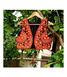 Orange Colored Flower Kutch Embroidered From Front Sides Short Koti