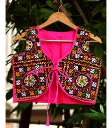 Pink Colored Flower Kutch Embroidered From Both Sides  With Real Mirror Worked Short Koti