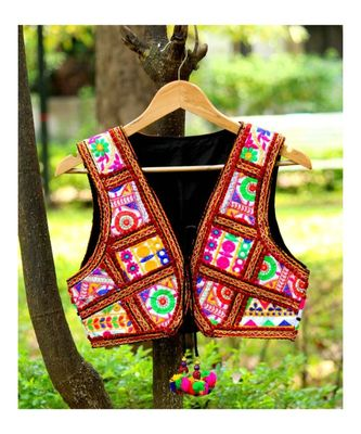Banjara Style White Base Kutch Hand Embroidered Short Koti With Back Fully Embroidered