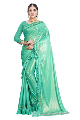 Sea green woven lycra saree with blouse
