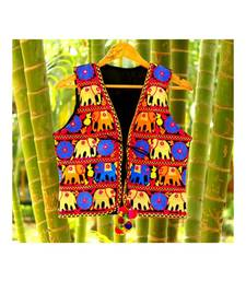 Blue And Yellow Elephant Pattern Kutch Embroidered Long Cotton Koti With Pompom Tassel Koti