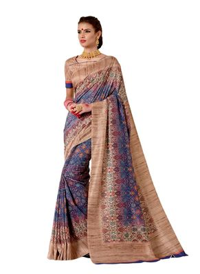 Violet printed tussar silk saree with blouse