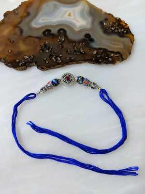 Tibetan Designer Silver Plated Blue Gemstone Multicolor Thread Rakhi For Brother