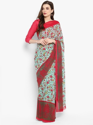 Baby pink printed georgette saree with blouse