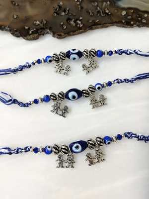 Set Of 3 Navy Blue Evil Eye With Silver Beads Brother&Sister Pendant Multicolor Thread Rakhi For Men/Bhaiya