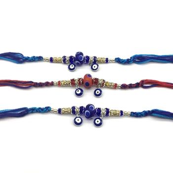 Set of 3 Navy Blue Evil Eye Gold Ring Stone & Red Beads Multicolor Thread Rakhi For Men/ brotherya