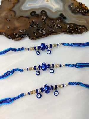 Set of 3 Navy Blue Evil Eye Gold Ring Stone and Beads Multicolor Thread Rakhi For Men/ brotherya/ Bro