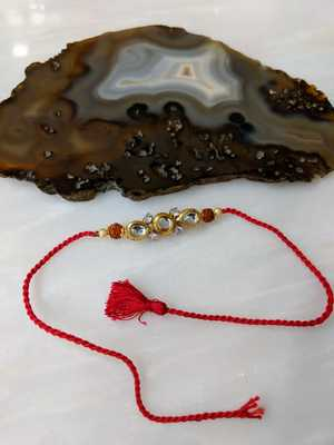Kundan Designer Gold Plated Stone Rudraksha Beads Red Thread Rakhi For brother
