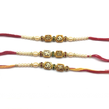 Set of 3 Om & Swastik Designer Gold Stone Beads White Pearl Red Thread Rakhi for brother