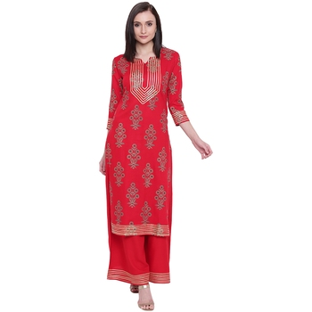 Red printed rayon kurta with palazzo