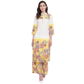White printed cotton kurta with palazzo